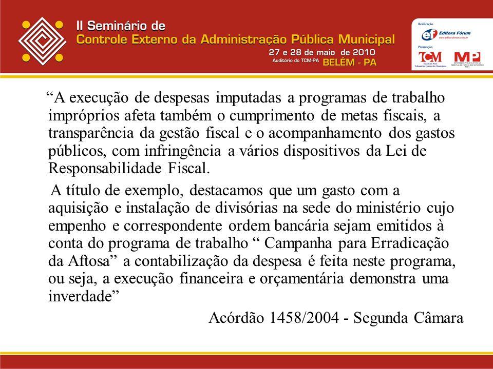 A execução de despesas imputadas a programas de trabalho impróprios afeta também o cumprimento de metas fiscais, a transparência da gestão fiscal e o acompanhamento dos gastos públicos, com infringência a vários dispositivos da Lei de Responsabilidade Fiscal.