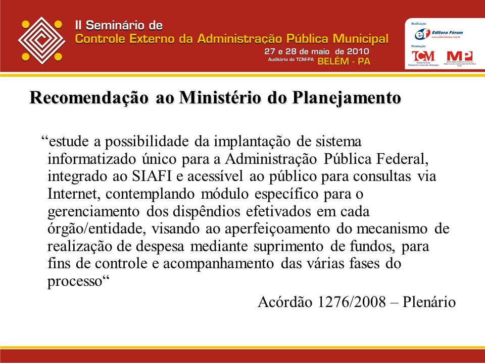 Recomendação ao Ministério do Planejamento