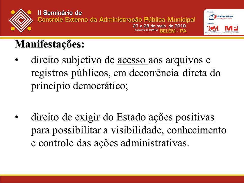 Manifestações: direito subjetivo de acesso aos arquivos e registros públicos, em decorrência direta do princípio democrático;