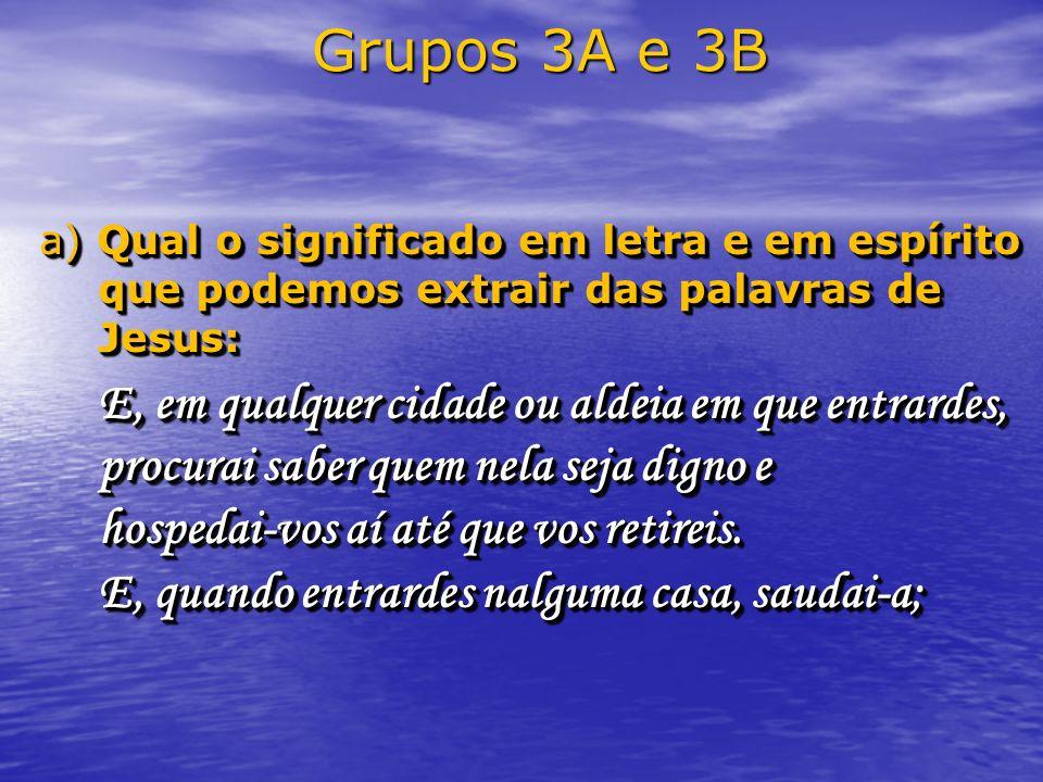 Grupos 3A e 3B a) Qual o significado em letra e em espírito que podemos extrair das palavras de Jesus: