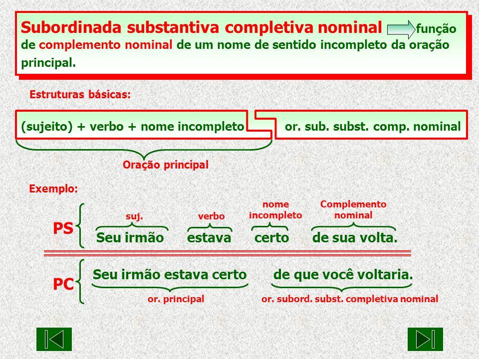 Subordinada substantiva completiva nominal função de complemento nominal de um nome de sentido incompleto da oração principal.