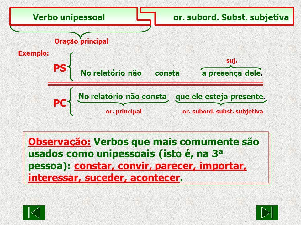 Verbo unipessoal or. subord. Subst. subjetiva