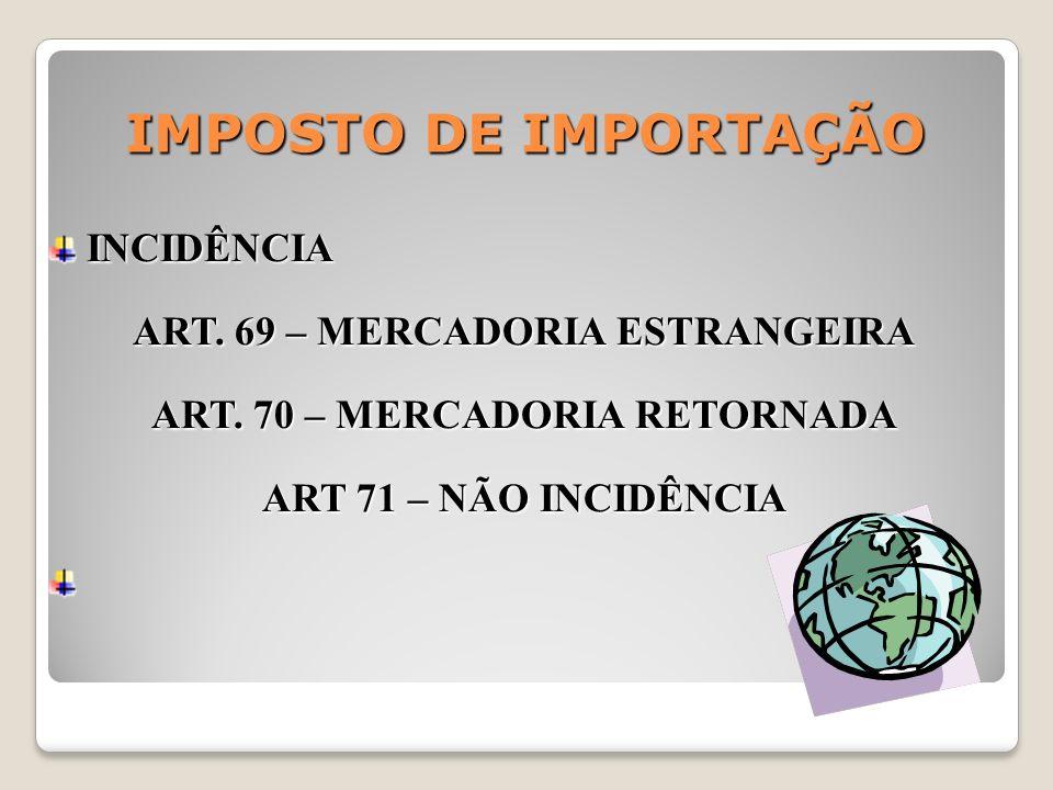 ART. 69 – MERCADORIA ESTRANGEIRA ART. 70 – MERCADORIA RETORNADA