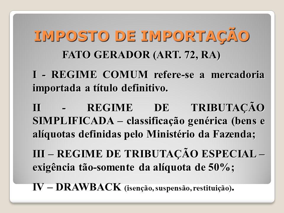 IMPOSTO DE IMPORTAÇÃO FATO GERADOR (ART. 72, RA)