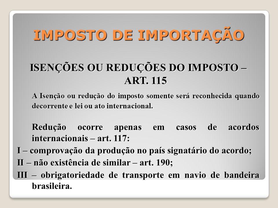 ISENÇÕES OU REDUÇÕES DO IMPOSTO – ART. 115
