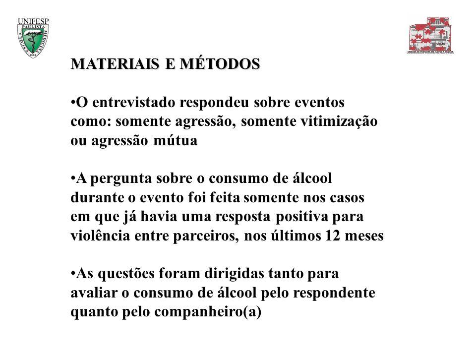 MATERIAIS E MÉTODOS O entrevistado respondeu sobre eventos como: somente agressão, somente vitimização ou agressão mútua.