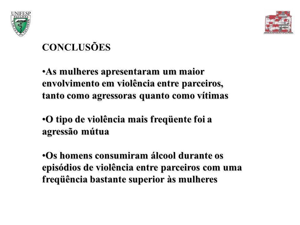 CONCLUSÕES As mulheres apresentaram um maior envolvimento em violência entre parceiros, tanto como agressoras quanto como vítimas.