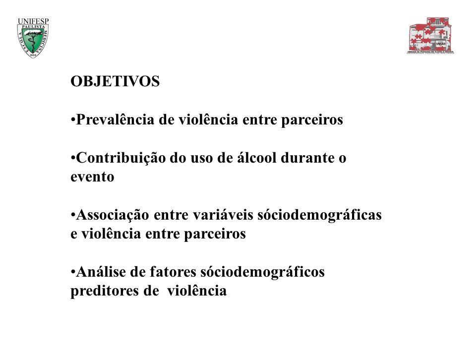 OBJETIVOS Prevalência de violência entre parceiros. Contribuição do uso de álcool durante o evento.