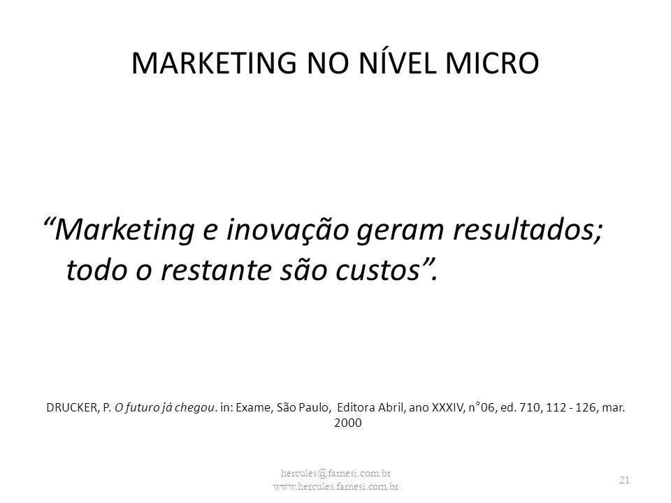 MARKETING NO NÍVEL MICRO