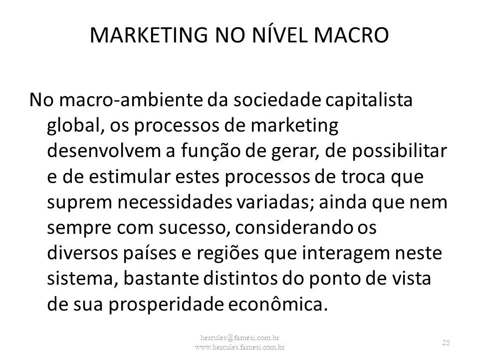 MARKETING NO NÍVEL MACRO