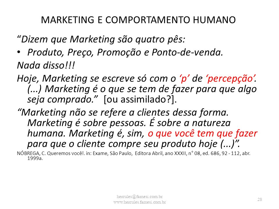 MARKETING E COMPORTAMENTO HUMANO