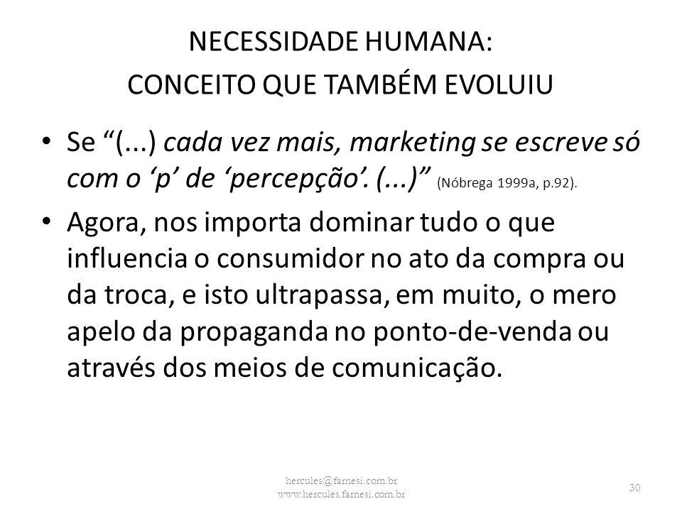 NECESSIDADE HUMANA: CONCEITO QUE TAMBÉM EVOLUIU