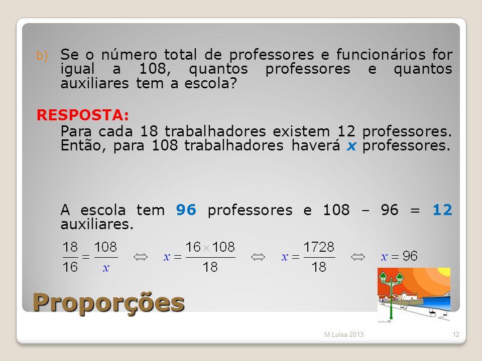 Se o número total de professores e funcionários for igual a 108, quantos professores e quantos auxiliares tem a escola