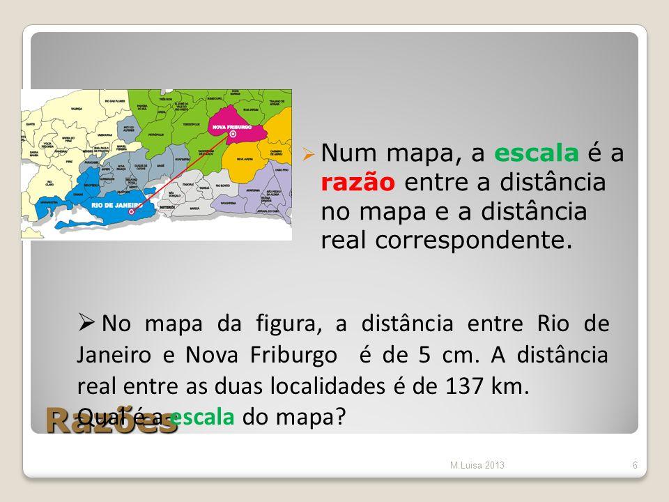 Num mapa, a escala é a razão entre a distância no mapa e a distância real correspondente.