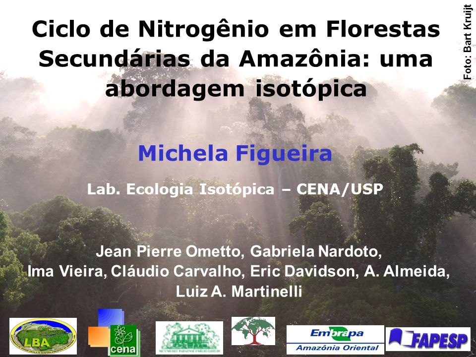 Foto: Bart Kruijt Ciclo de Nitrogênio em Florestas Secundárias da Amazônia: uma abordagem isotópica.
