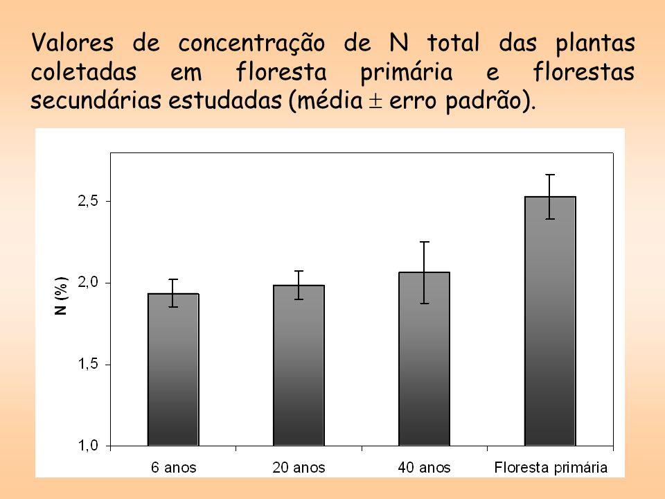 Valores de concentração de N total das plantas coletadas em floresta primária e florestas secundárias estudadas (média  erro padrão).