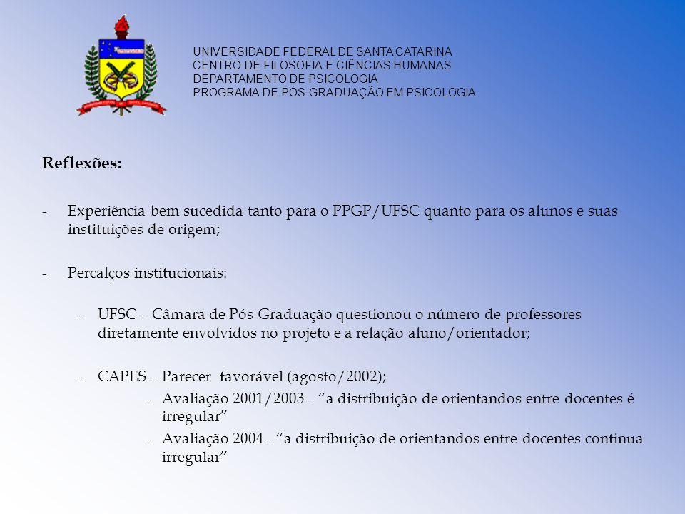 Reflexões:Experiência bem sucedida tanto para o PPGP/UFSC quanto para os alunos e suas instituições de origem;