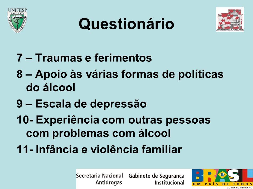Questionário 7 – Traumas e ferimentos
