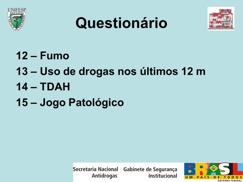 Questionário 12 – Fumo 13 – Uso de drogas nos últimos 12 m 14 – TDAH