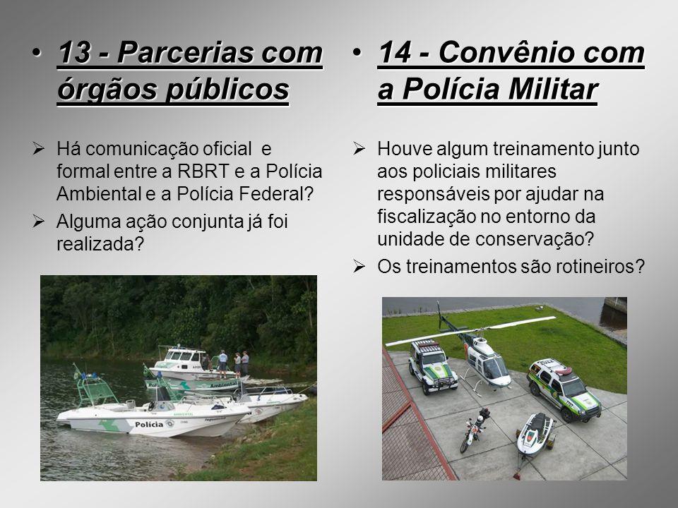 13 - Parcerias com órgãos públicos 14 - Convênio com a Polícia Militar