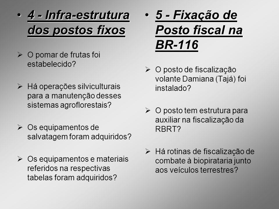 4 - Infra-estrutura dos postos fixos