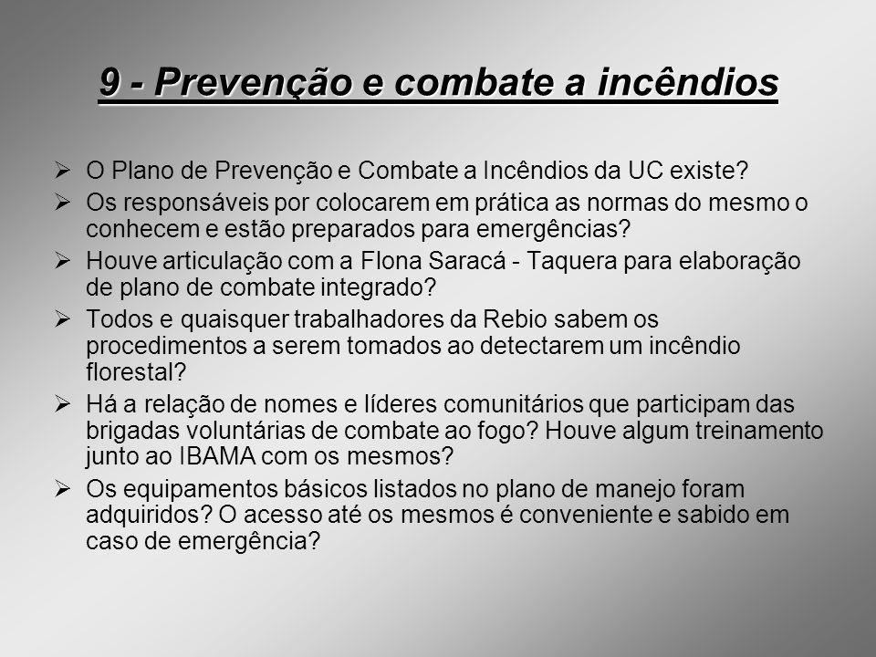 9 - Prevenção e combate a incêndios