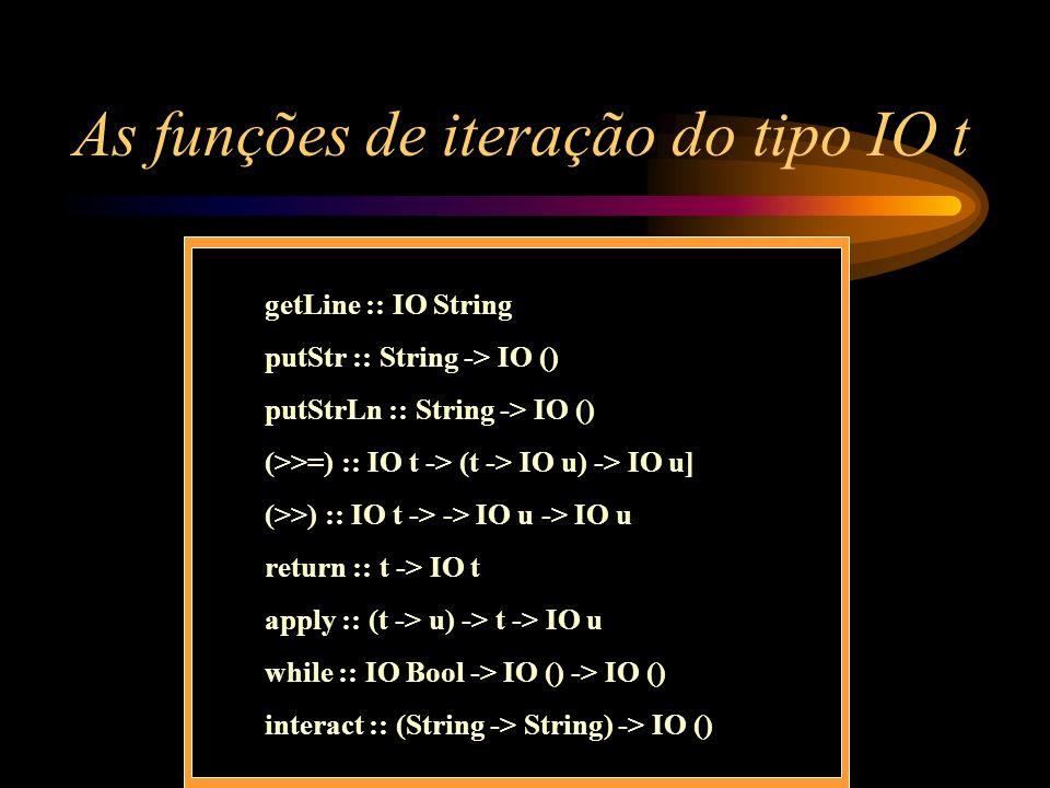 As funções de iteração do tipo IO t