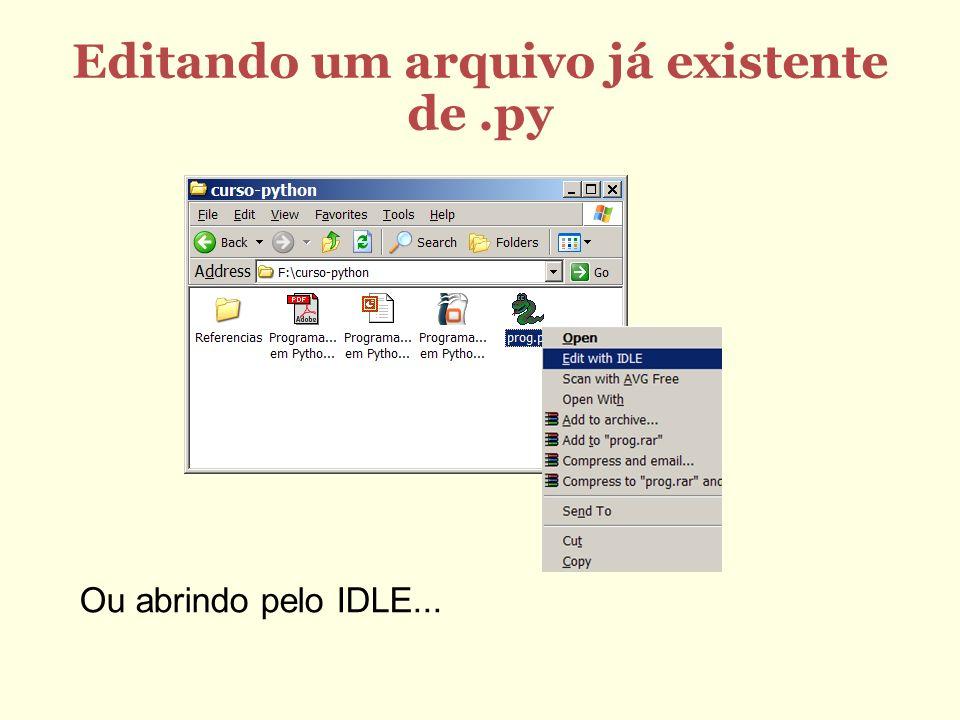 Editando um arquivo já existente de .py