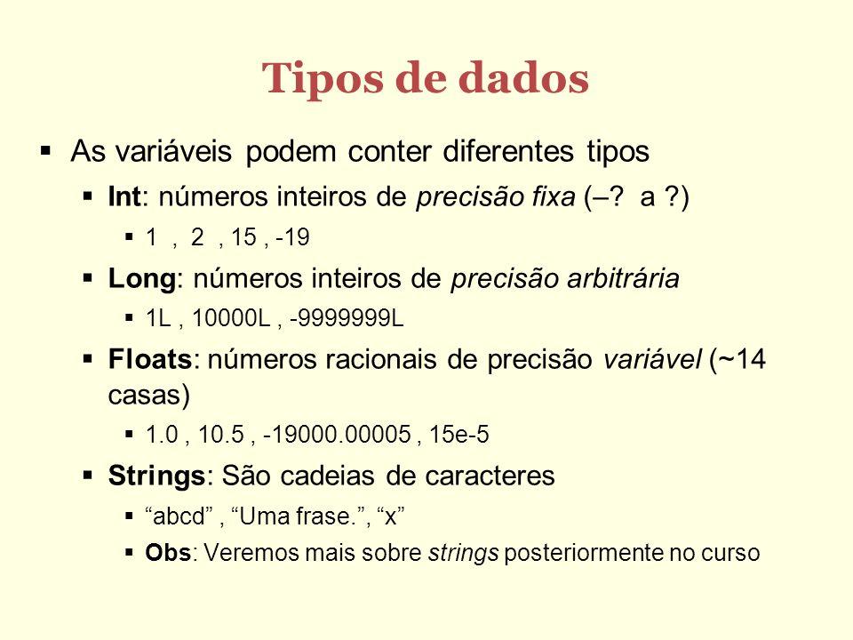 Tipos de dados As variáveis podem conter diferentes tipos