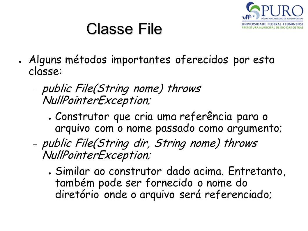 Classe File Alguns métodos importantes oferecidos por esta classe: