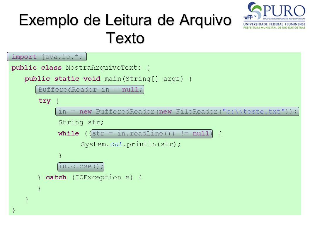 Exemplo de Leitura de Arquivo Texto
