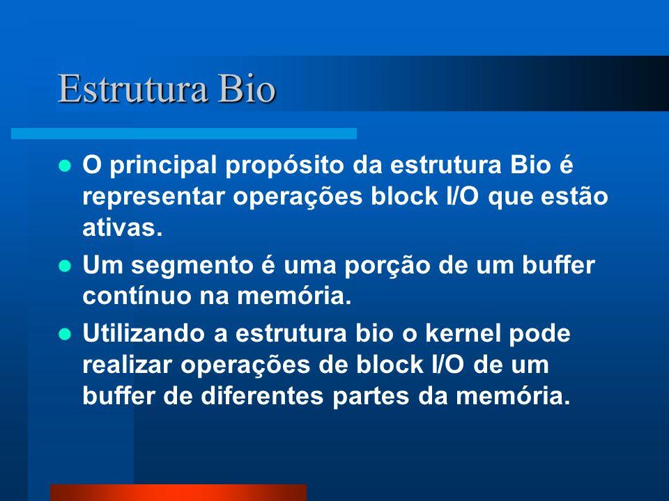 Estrutura Bio O principal propósito da estrutura Bio é representar operações block I/O que estão ativas.