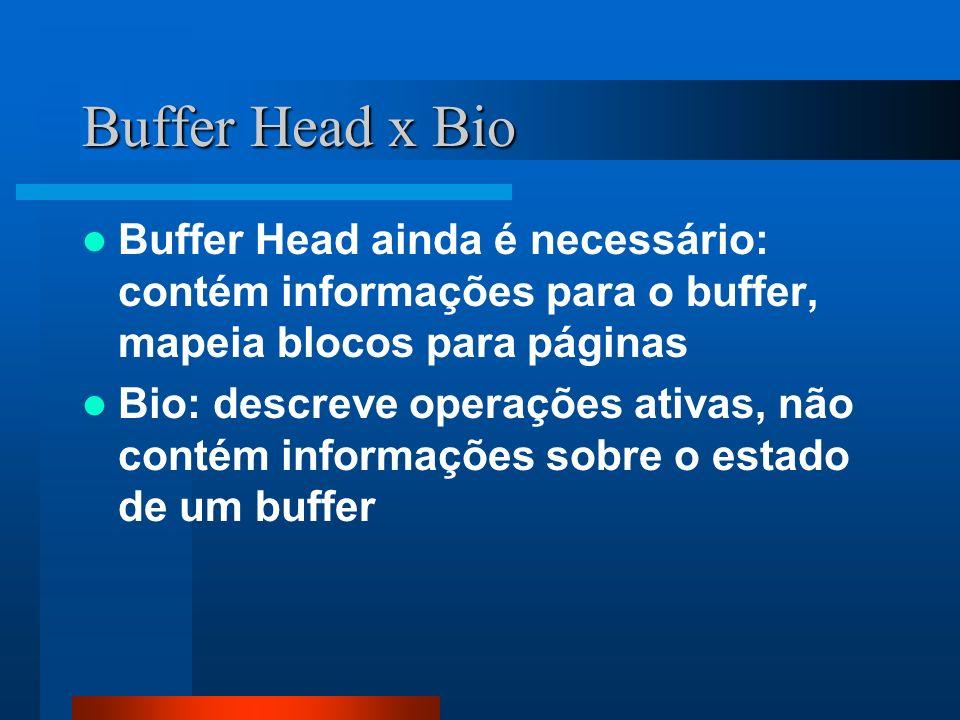 Buffer Head x Bio Buffer Head ainda é necessário: contém informações para o buffer, mapeia blocos para páginas.
