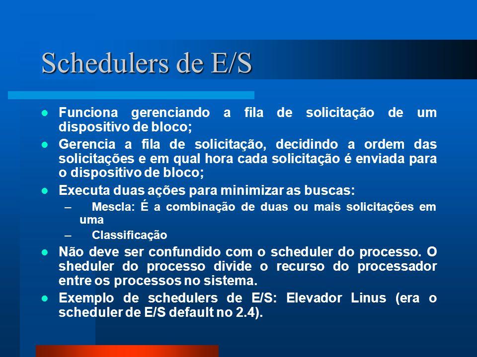 Schedulers de E/S Funciona gerenciando a fila de solicitação de um dispositivo de bloco;