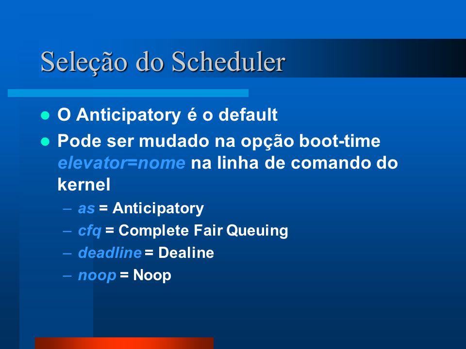 Seleção do Scheduler O Anticipatory é o default
