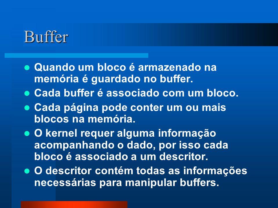 Buffer Quando um bloco é armazenado na memória é guardado no buffer.