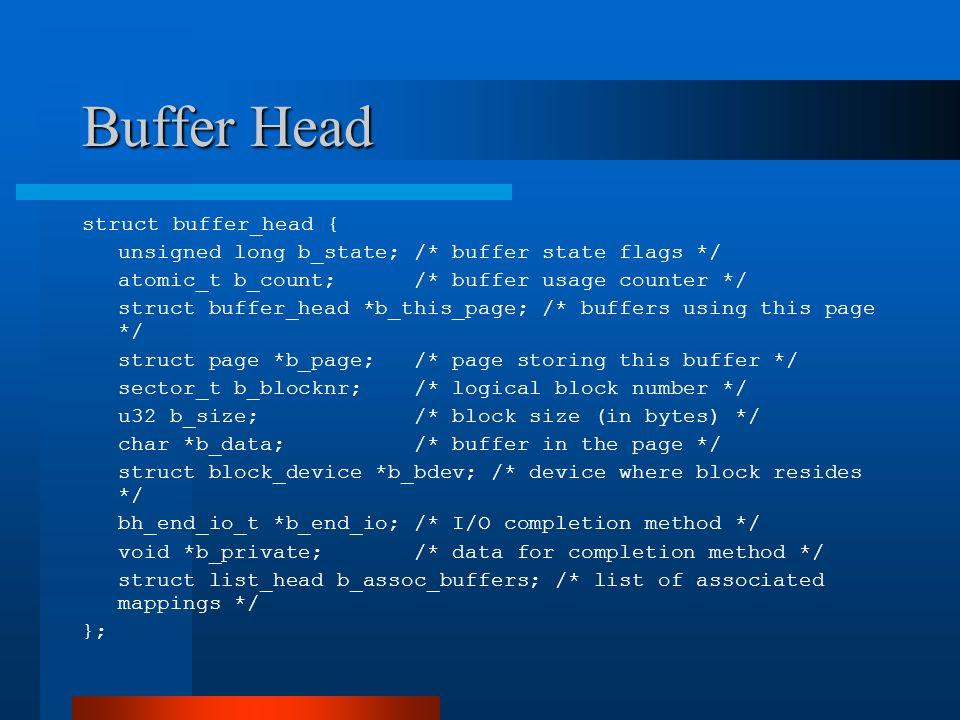 Buffer Head struct buffer_head {