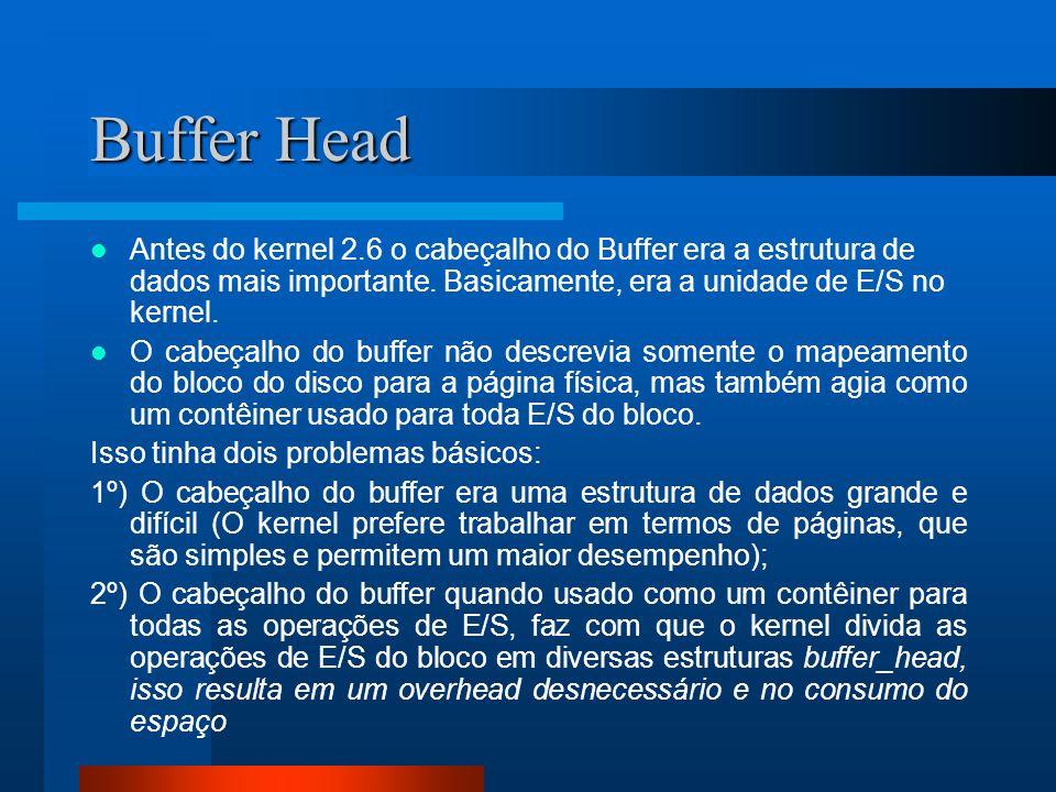 Buffer Head Antes do kernel 2.6 o cabeçalho do Buffer era a estrutura de dados mais importante. Basicamente, era a unidade de E/S no kernel.
