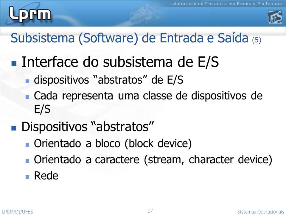 Subsistema (Software) de Entrada e Saída (5)