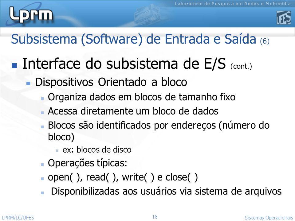 Subsistema (Software) de Entrada e Saída (6)