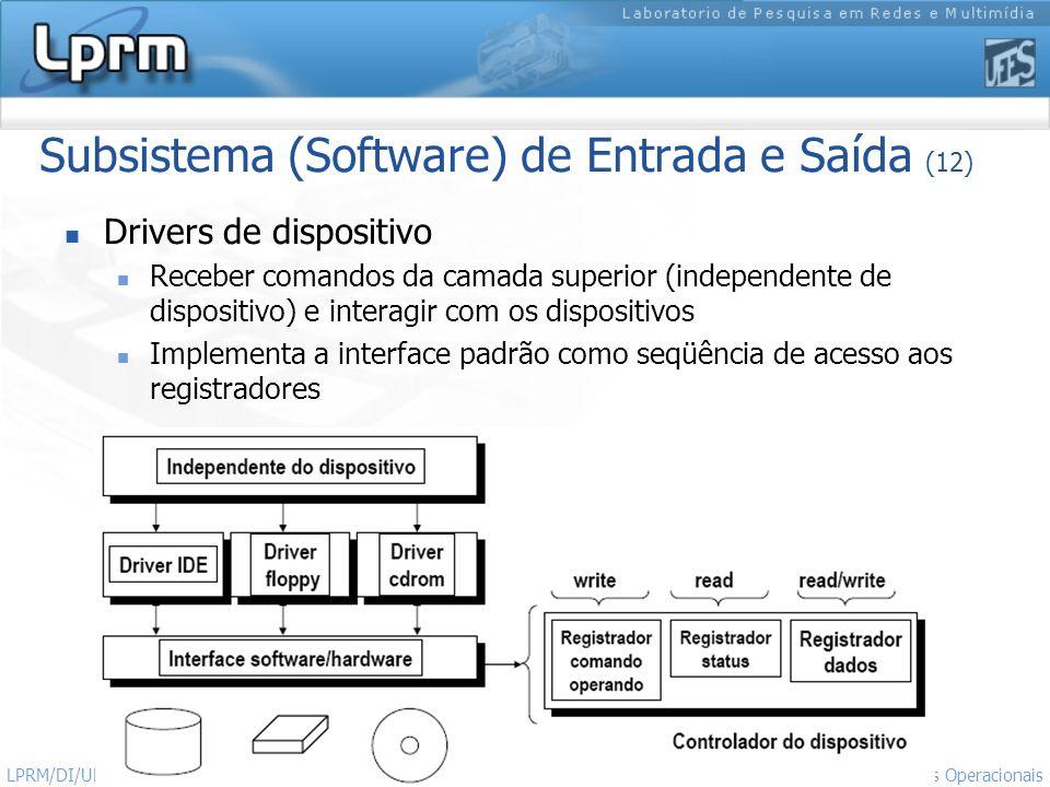 Subsistema (Software) de Entrada e Saída (12)