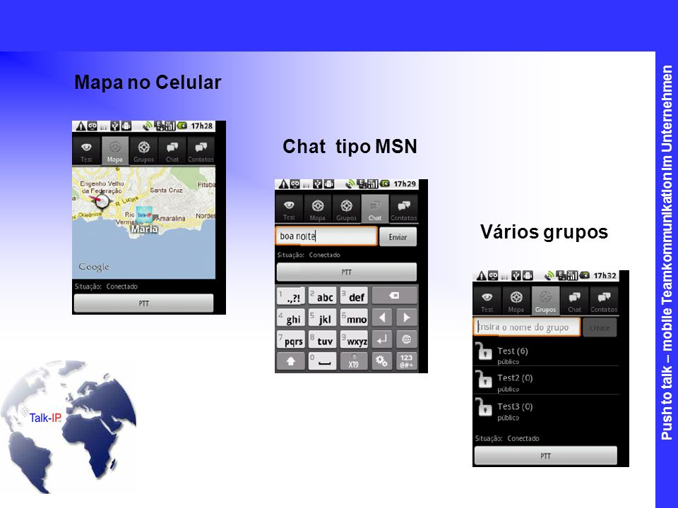 Mapa no Celular Chat tipo MSN Vários grupos