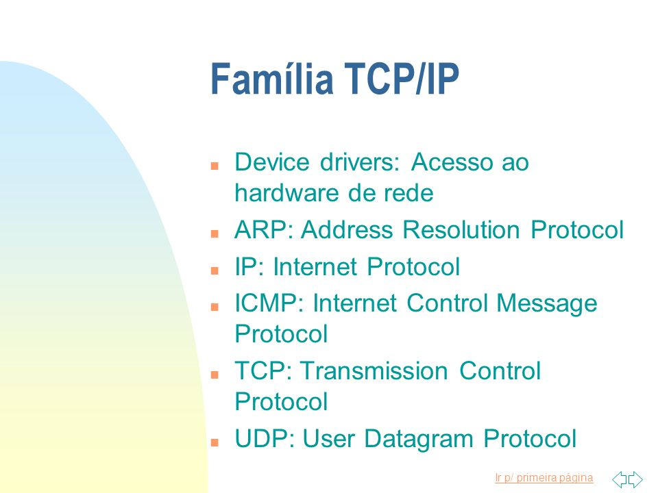 Família TCP/IP Device drivers: Acesso ao hardware de rede