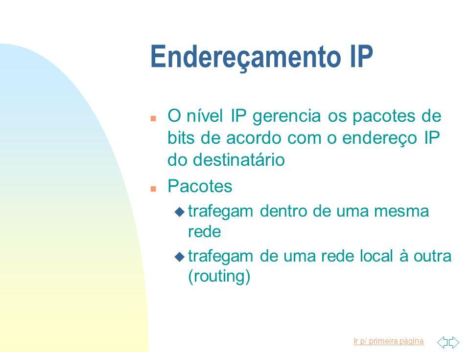 Endereçamento IP O nível IP gerencia os pacotes de bits de acordo com o endereço IP do destinatário.