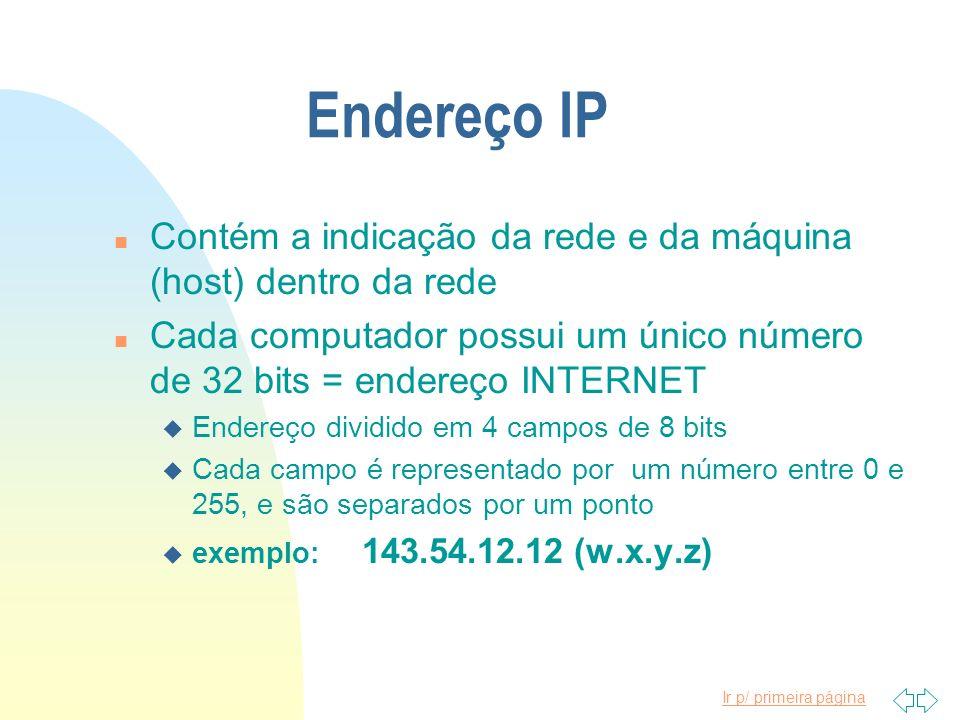Endereço IP Contém a indicação da rede e da máquina (host) dentro da rede. Cada computador possui um único número de 32 bits = endereço INTERNET.