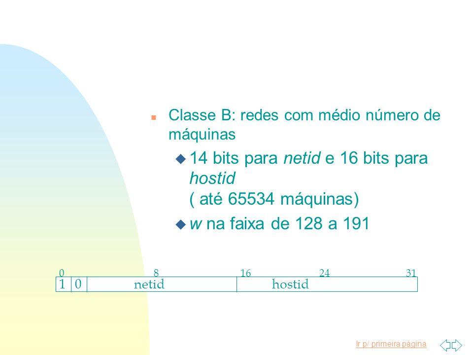 14 bits para netid e 16 bits para hostid ( até 65534 máquinas)
