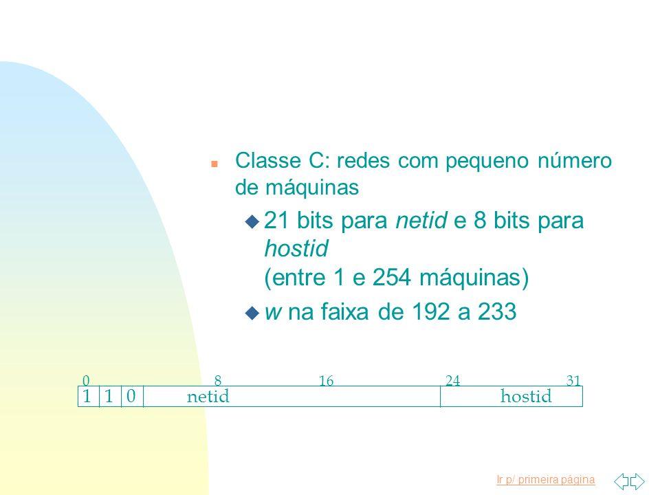 21 bits para netid e 8 bits para hostid (entre 1 e 254 máquinas)