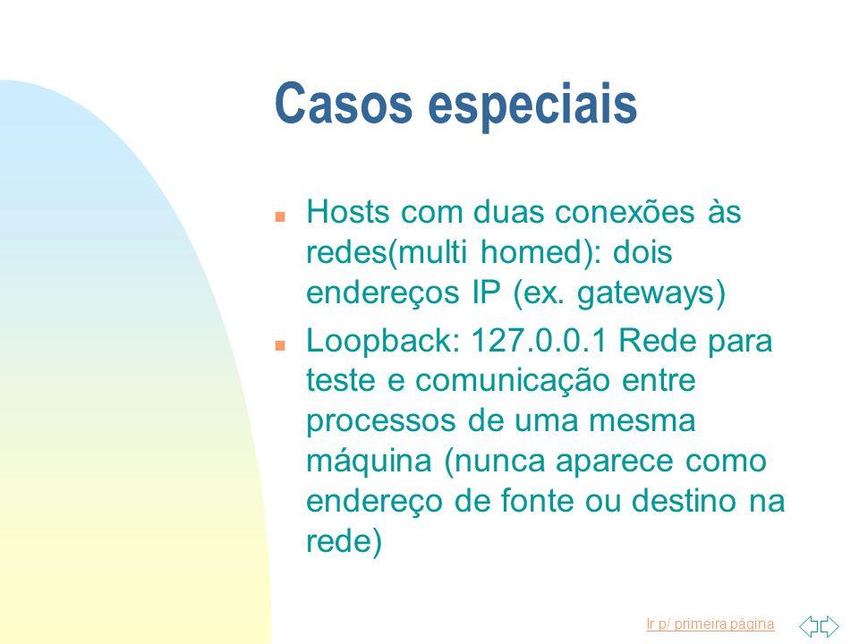 Casos especiais Hosts com duas conexões às redes(multi homed): dois endereços IP (ex. gateways)