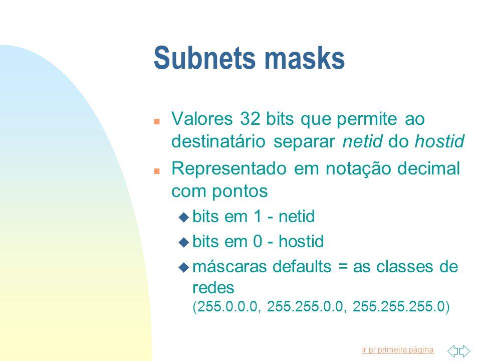 Subnets masks Valores 32 bits que permite ao destinatário separar netid do hostid. Representado em notação decimal com pontos.