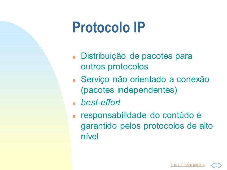 Protocolo IP Distribuição de pacotes para outros protocolos